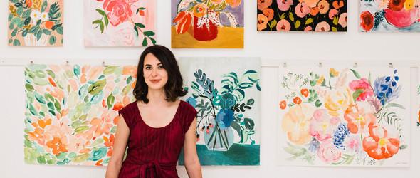 白墙、绿植、插画组成的完美工作室 | Juliet Meeks