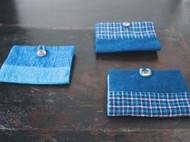 蓝染棉贝壳扣手工卡包(名片夹)
