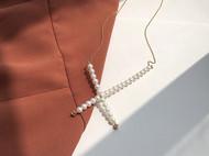 M.Q奎妮小姐 个性十字交叉天然珍珠项链