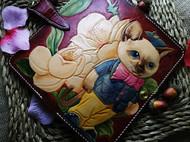 可爱风暹罗猫皮雕钱包