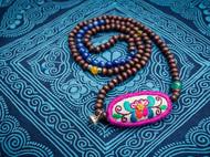 HIWANG 菩提花 缠绕手链项链多层多圈原创纯手工刺绣纯银玛瑙木珠