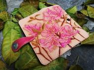 皮雕牡丹长款折叠钱包