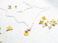 原创独家纯银珐琅琉璃手工人文礼物女友榕花瓣珍珠气质简约项链