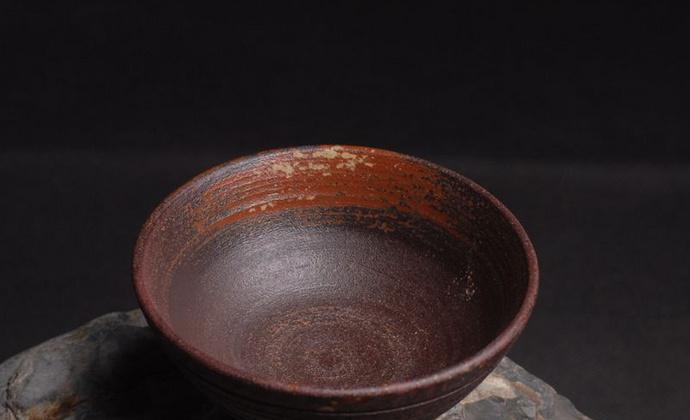 水云轩陶艺纯手工制作草木灰釉窑变粗陶茶盏主人杯