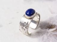 【漫步】原创手工 纯银青金石 錾刻树叶 宽版戒指 不对称肌理