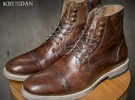 秋季新品英伦真皮铆钉拉链潮马丁靴复古机车靴高帮骑士靴男短靴