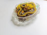 水晶幻彩紫金神龙 3D树脂画 琥珀绘