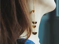 M.Q奎妮小姐 情人扇长耳钉2号/天然珍珠优雅半圆片流苏耳定/耳线