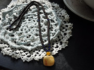 【花布原石琥珀手磨】繁华落叶--经典毛衣链
