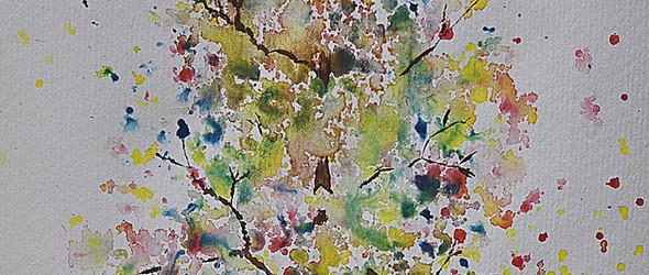 水彩画教程和实验:使用飞溅法和喷雾瓶,创作秋天的水彩树教程