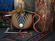 集点手作坊 手工皮具 阿美咔叽纳瓦霍印第安羊毛毯子挎包 流苏包
