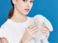 CAMBAS刊芭思 银镶晶钻莓红兔手镯女 925纯银简约设计少女心手环