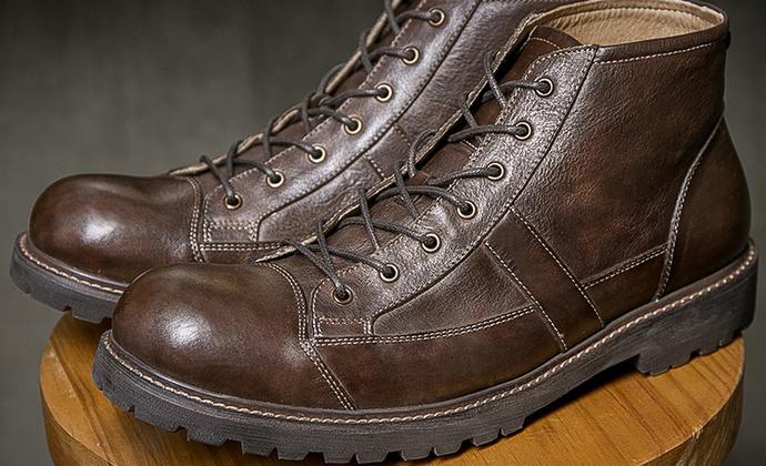秋冬新款厚底牛皮男士短靴大头鞋高帮马丁靴真皮英伦复古工装靴男