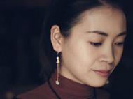 柒言不语 原创手工 樱花节里的桃花源 珍珠南红银花丝定制耳环