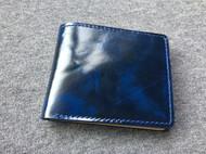 蓝黑擦色皮goros经典短夹