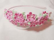 原创纯手工DIY和风布花粉色嫩绿满花发箍
