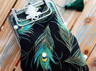 时光手工 NIの原创孔雀羽毛烫金布口金手提包