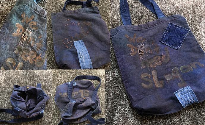 「Santa Bipsilon」蓝染套色做旧托特袋,纯亚麻布料