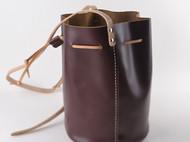 耀点生活vintage手工简约水桶包牛皮女式单肩水桶包 真皮斜跨女包