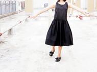独家原创 复古黑色宽松连衣裙 日系背带连衣裙
