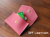手缝牛皮卡包零钱包 纯手缝意大利牛皮包两枚入