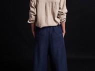 亚麻休闲长袖衬衫蓝染手工刺子贴兜-独立设计师品牌[荒腔]