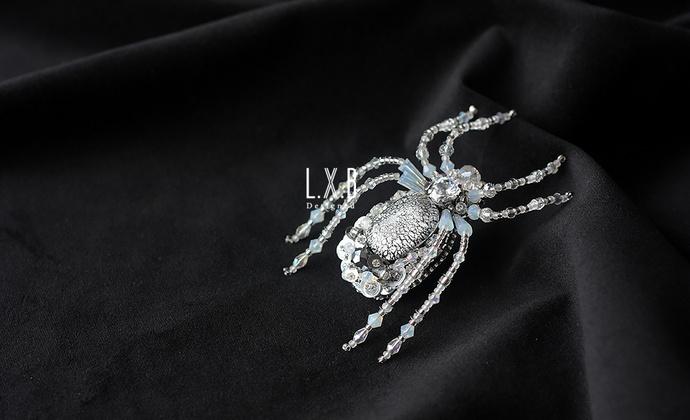 【LXB私人设计】立体珠绣 毛衣 大衣 蜘蛛 昆虫胸针(大号)现货