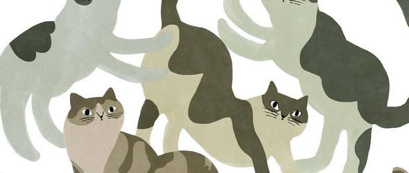 憨态可掬的猫咪们|日本插画家津島タカシ的版画作品欣赏