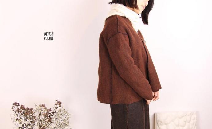 如初ruchu | 咖啡透蓝开衫交领羊毛棉短款大衣外套