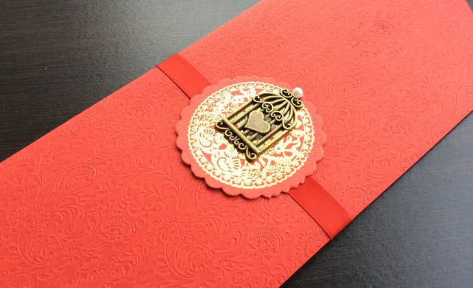手工浮雕款高端婚礼红包 永结同心 大容积红包20.5cm*9cm
