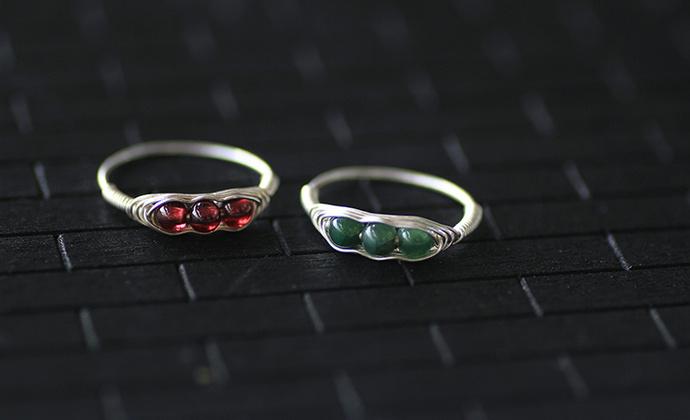 【豌豆公主】99纯银天然石榴石翡翠戒指开口闭口