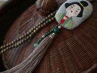 花暖手工刺绣 侍女项链-绿檀长链中国风礼物 遇见