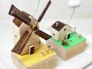 小云朵风车房子田园建筑景观模型摄影道具家居桌面装饰艺术摆件节日创意礼物