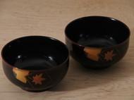 日本漆器碗 日式和风餐具 枫叶图案 海外直邮包邮 精致有质感