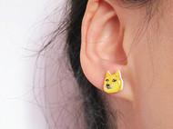 【森姑娘家】神烦狗DOGE耳钉 手绘热缩片耳钉