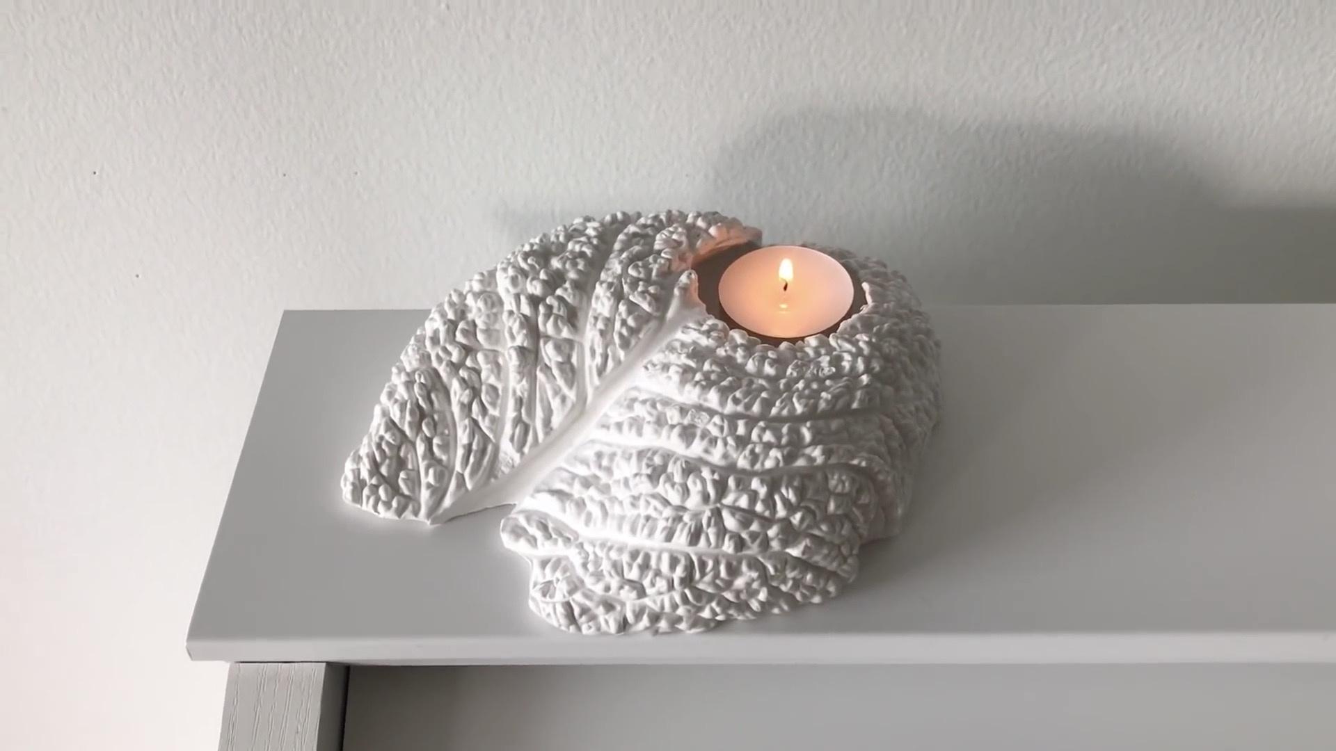 创意植物拓印DIY教程:油基粘土+石膏+包菜的奇怪组合,DIY手工制作植物纹理的石膏烛台