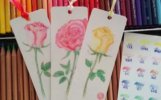 彩铅玫瑰花书签