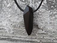 纯手工切割黑檀木质不规则水晶情侣吊坠项链