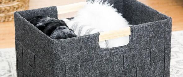 DIY家居创意:纸箱+毛毡+热熔胶,制作编织效果的杂物箱