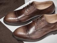 手工固特异男鞋真皮三接头男士商务正装皮鞋布洛克雕花男英伦皮鞋