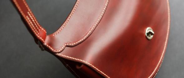 皮革单肩小包的制作过程(Horween Cherry Cavalier)