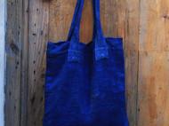 南山草木染原创自制蓝染扎染双层棉麻单肩手提袋环保购物袋帆布袋