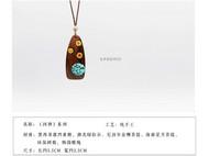 善术SANSHIO纯手工绿松石菩提木吊坠文艺范创意项链情侣款毛衣链