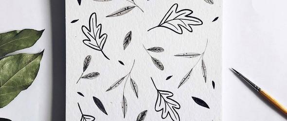 灰色调的水彩插画 | Alexandra Claudia