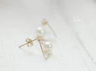 手工绕线简约气质天然珍珠包金耳钉