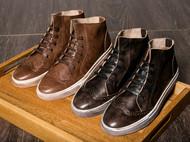秋季新款男士板鞋潮鞋真皮英伦风男鞋休闲布洛克雕花复古高帮鞋