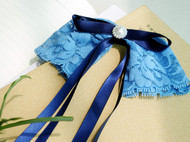 【故饰会】蝶之翼 华丽轻奢优雅蓝色蕾丝飘带手工蝴蝶结发饰 顶夹