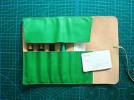 mufu 手染绿色植鞣笔袋