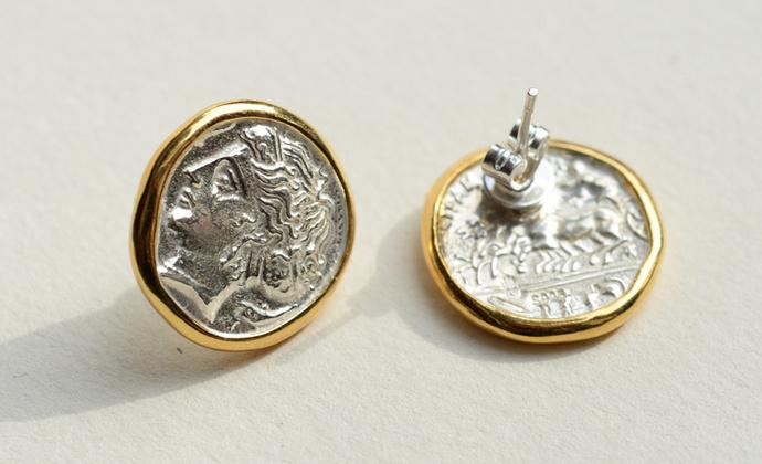 偶屿925纯银镀金仙女币耳钉
