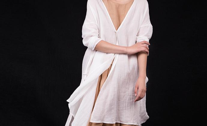 荒腔 原创夏季新款女装宽松休闲棉麻防晒衫中长外套HQ16018-1包邮